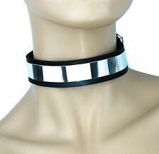 Metal Plate Plain Genuine Leather Collar Punk Gothic Cosplay Deathrock