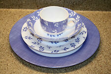 Vintage ARCOPAL France- 4 pc. Setting BLUE & WHITE Leaf Sprig - 7 SETS Available