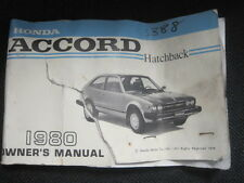 1980 Honda Accord Hatchback Owner's Manual