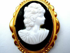 Vintage Black & White Lucite Cameo Brooch Pin Gold Tone Victorian Style Jewelry