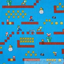 BonEful Fabric FQ Cotton Quilt Super Mario Brothers Nintendo Game Boy Gold Coin