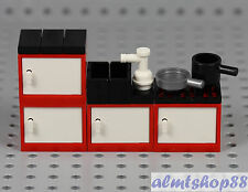 LEGO - Red Kitchen Cabinets w/ Sink Stove Oven Fridge Pan Minifigure Cupboard