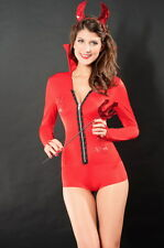 Sexy Women's Skin Tight Red Devil Halloween Fancy Dress Costume