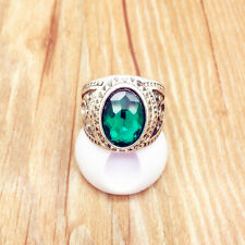 Beauty Vintage Jewelry Stainless Steel Fashion Green Ring Size 8 RG07