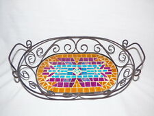 BASKET W/ STAIN GLASS & SCROLLED BLACK METAL PURPLE, TURQUOISE, GOLD SW DESIGN