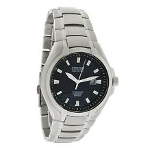New Citizen Mens Titanium Blue Dial Eco-Drive Watch BM7170-53L