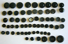 Vintage Fancy Buttons, Black, 14mm-32mm - 61 ALL SORTS - From Art Deco to 1960s