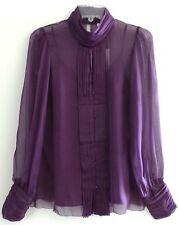 NWT VERTIGO PARIS Silk Purple Chiffon High Neck Top Blouse Button Shirt, $159, S