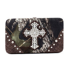 Mossy Oak  camouflage extra deep frame wallet with rhinestone cross - coffee