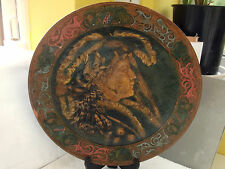 LARGE DECORATIVE PLATE WITH A LADYS' FACE IN A BRONZE COLOUR NO MAKER A / F