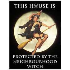 Vintage THIS HOUSE IS PROTECTED BY THE NEIGHBORHOOD WITCH Metal Wall Sign Plaque