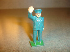 Old Vtg Antique Collectible Cast Iron Toy Policeman Waving His Right Hand