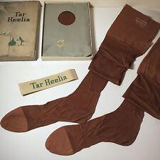 """3 PAIRS 1930s SILK SEAMED STOCKINGS TAR HEELIA EXTRA LONG 10 1/2 X 33"""" F/Fashion"""