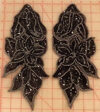 Matching pair black & gunmetal beaded appliques with double layer flower 11""
