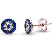 Rose Gold Plated Blue Sapphire & Cz .925 Sterling Silver Earrings