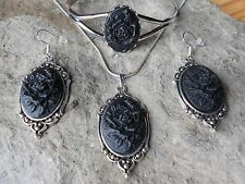 BLACK ROSE CAMEO NECKLACE. BRACELET, AND EARRINGS SET - SILVER PLATED - GIFT