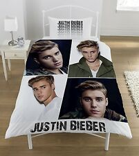 NEW OFFICIAL JUSTIN BIEBER SINGLE DUVET QUILT COVER SET GIRLS KIDS FANS BEDROOM