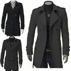 2Color Men's Double Breasted Strap Slim Fit Trench Coat Long Jacket Overcoat Top