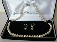 """18"""" Inch Set Genuine 7-8mm ROUND White Pearl Necklace Earrings RLB Freshwater"""