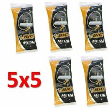 Lot of 25 BIC METAL Mens Disposable Razors (5 packs of 5 shavers) Free Shipping