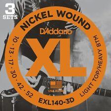 D'Addario EXL140-3D Electric Guitar Strings 10-52 (3 Set Pack)