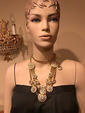 Vintage Haute Couture Runway Gold Chain Rhinestone Necklace Belt Statement Peace