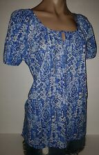 HESTER & ORCHARD BLUE & WHITE TIE LOOSE PRINT SM SMALL WOMENS TEE TOP SHIRT NEW