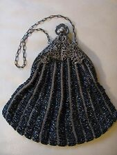 Antique Silver T Frame Tan Crochet Knit Black Iridescent Peacock Bead Purse #361