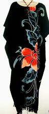 Luxury Hand Made ORCHID Flower Kaftan Black Dress Floral Butter Long Painted New