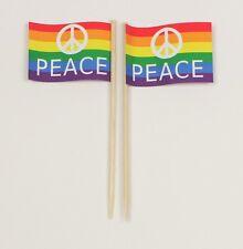 Party-Picker Peace Regenbogen 50 Stk. Dekopicker Papierfähnchen Käsepicker Food