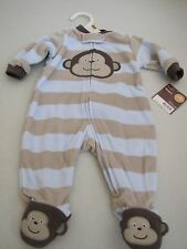 New Carters Newborn Baby Boy Footed Pajamas Monkey Blue/Brown Zip up 5-8 lbs