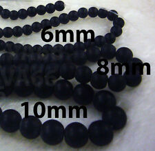 DIY Black Stone 8mm Gemstone Round Gemstones Beads Jewelry Making Craft Batu