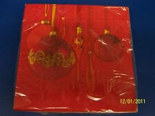 Red Photo Ornaments Christmas Tree Holiday Party Paper Dinner Napkins