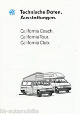 VW California Coach Tour Club Technische Daten Auto Prospekt 1993 Autoprospekt