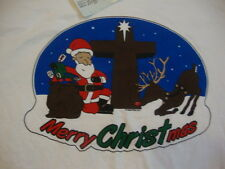 NEW MERRY CHRISTmas Santa Clause w Cross Christian Christmas Holiday T shirt 2XL