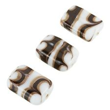 White Rectangle Glass Beads - Black/Gold Pattern 18x15mm Pack of 3 (A68/4)
