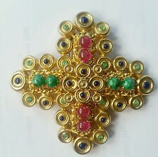 MASSIVE 1970 CHRISTIAN DIOR GERMANY GLASS CABOCHONS PIN STATEMENT BROOCH