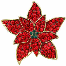 NEW KIRKS FOLLY PERFECT POINSETTIA  PIN  GOLDTONE