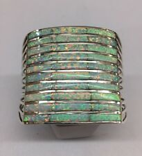Native American Zuni Hand Made Sterling Silver White Opal Inlay Cuff Bracelet