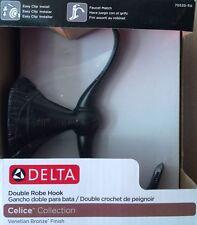 """Delta """"Celice"""" Double Robe Hook - Venetian Bronze - 70535-RB - NEW"""