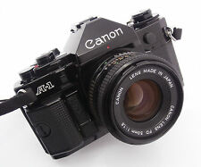 Black Canon A-1 35mm Film Camera with Canon FD 50mm f1.8 Lens  Free UK P&P!