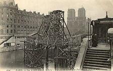 PARIS (75) construction du chemin de fer métropolitain petit bras de Seine