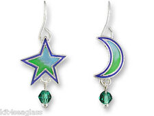 Zarah Zarlite Moon and Star Dangle EARRINGS Sterling Silver Plate NEW Gift Boxed