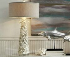 RESIN WHITE SHELL FINISH CRYSTAL BASE TABLE LAMP GREY LINEN SHADE BEACH OCEAN