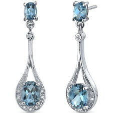 4 CT Oval Blue London Blue Topaz Sterling Silver Dangling Earrings