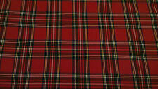 "TARTAN ROYAL STEWART POLY VISCOSE SCOTTISH FABRIC CLOTH - 58"" WIDE - PER METRE"