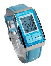 Casio LA201WBL-2A Women's Futurist Blue Leather Band Alarm Chronograph Watch