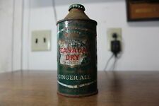 1950's Soda Pop Cone Top steel Can Canada Dry Ginger Ale w/cap bit rough, HTF