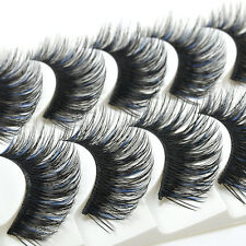 Charm Women Blue + Black Long Thick Cross False Eyelashes 5 Pairs Eye Lashes