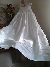 Antique French Victorian Baby Christening Gown/Petticoat ~ Cotton/Tucks~Heirloom